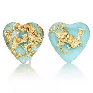 Jewelry - Blue Gold Heart Earrings. 🆕